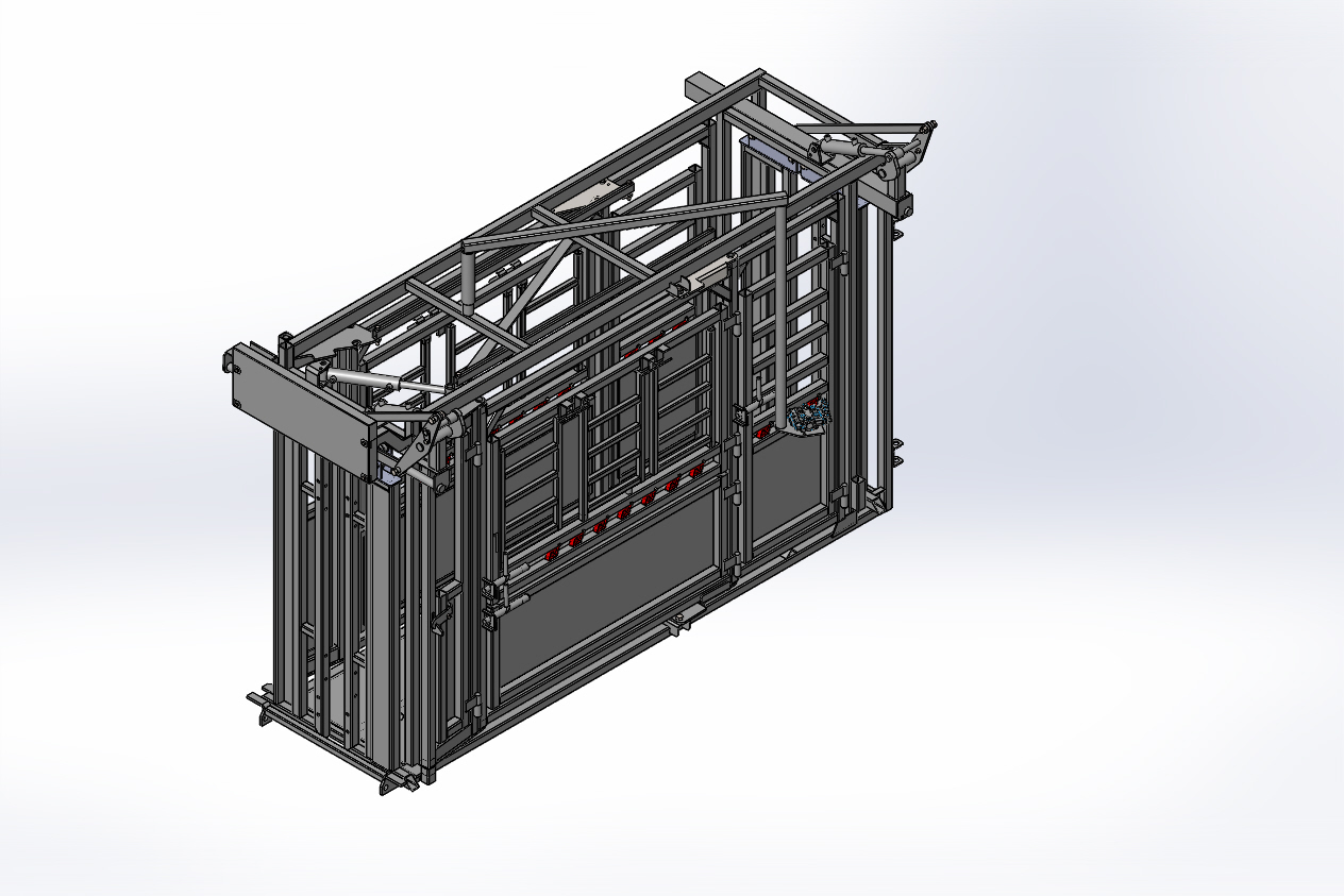 Cattle Chute assembly create by reverse engineering in SolidWorks without hoses